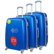 Чемодан Travel Quotes Emoji Blue L+