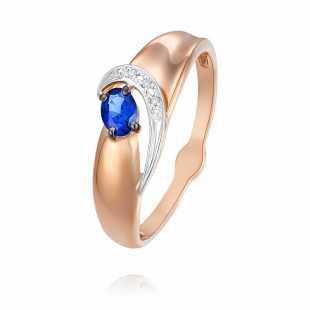 Кольцо из красного золота 585 пробы с бриллиантом и Сапфиром ГТ
