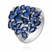 Кольцо из белого золота 585 пробы с сапфиром и бриллиантом...