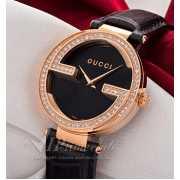 Часы Interlocking G large diamonds gold