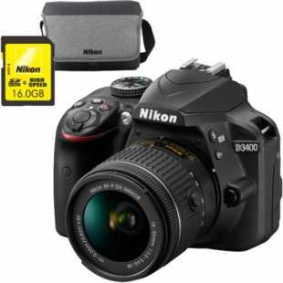 D3400 AF-P 18-55mm f/3.5-5.6G VR Kit Black + карта памяти 16Гб + фирменная сумка
