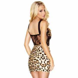 Эротическое платье: Комбинированное платье под золотого леопрда