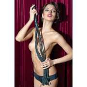 Кнуты, плётки, хлысты: Чёрная кожаная плеть-кошка - 81 см....