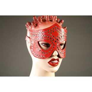 Маски, кляпы: Красная маска-очки с фурнитурой в виде заклепок