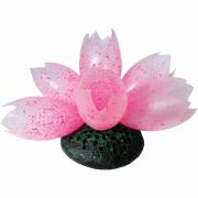 Декор для аквариумов JELLYFISH Лотос светящийся розовый с эф...