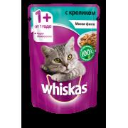 Корм для кошек Whiskas мини-филе кролик желе конс. пауч 85г...