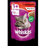 Корм для кошек Whiskas мини-филе говядина желе конс. пауч 85...