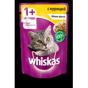 Корм для кошек Whiskas мини-филе курица желе конс. пауч 85г...