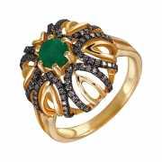 Кольцо из золота 585 пробы с бриллиантами и изумрудом (17,5)...