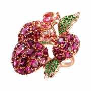 Кольцо из розового золота 585 пробы с родолитами, бриллианта...