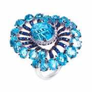 Кольцо из белого золота 585 пробы с бриллиантами, топазами и...