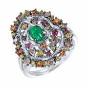 Кольцо из белого золота 585 пробы с бриллиантами, сапфирами,...