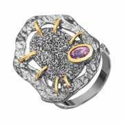 Кольцо из серебра 925 пробы с перидотами (18,5)...