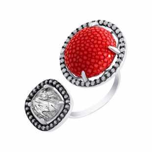 Кольцо из серебра 925 пробы с кварцем, фианитами и кожей (17)