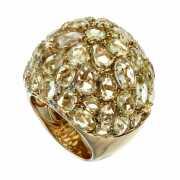 Кольцо из золота 585 пробы с кварцем и бриллиантами (17,5)...