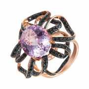 Кольцо из розового золота 585 пробы с аметистом и сапфирами ...