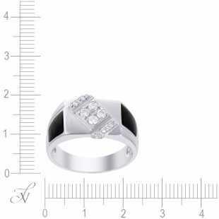 Кольцо из белого золота 585 пробы с ониксом и бриллиантами (19,75)