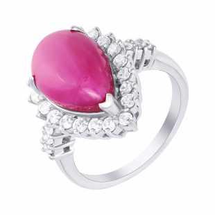 Кольцо из серебра 925 пробы с рубином облагороженным и фианитами (18,75)
