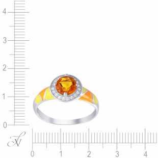 Кольцо из серебра 925 пробы с цитринами, топазами и эмалью (18)