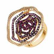Кольцо из розового золота 750 пробы с сапфирами, бриллиантам...