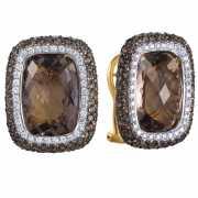 Серьги из золота 750 пробы с бриллиантами и раухтопазами...