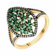 Кольцо из золота 585 пробы с бриллиантами и изумрудами (18)...
