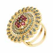 Кольцо из золота 585 пробы с топазом, бриллиантами и турмали...