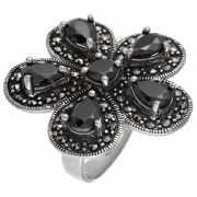 Кольцо из серебра 925 пробы с марказитами и фианитами (16,25...