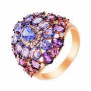 Кольцо из розового золота 585 пробы с бриллиантами, сапфирам...