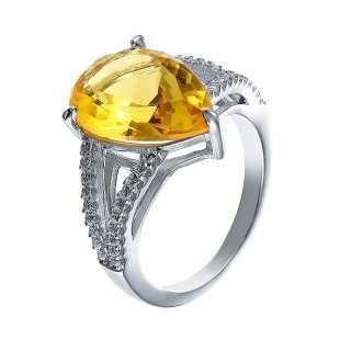 Кольцо из серебра 925 пробы с фианитами и ювелирным стеклом (16,25)
