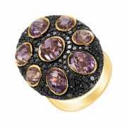 Кольцо из золота 585 пробы с аметистами и бриллиантами (16,7...