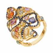 Кольцо из золота 585 пробы с сапфирами и бриллиантами...