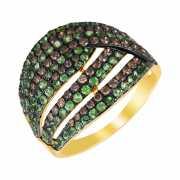 Кольцо из золота 585 пробы с бриллиантами и цаворитами (18)...