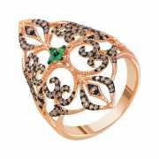 Кольцо из розового золота 585 пробы с бриллиантами и изумруд...