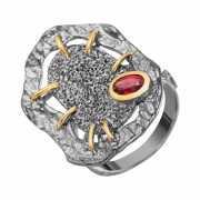 Кольцо из серебра 925 пробы с гранатами (18)...