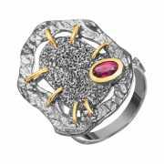 Кольцо из серебра 925 пробы с родолитами (17,5)...