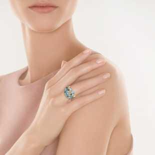 Кольцо из золота 585 пробы с бриллиантами и топазами (19)