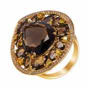 Кольцо из золота 585 пробы с бриллиантами, сапфирами и раухт...
