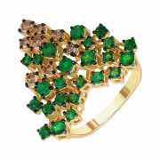 Кольцо из золота 585 пробы с бриллиантами и изумрудами (17,5...