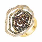 Кольцо из золота 585 пробы с сапфирами и бриллиантами (17,5)...
