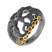 Кольцо из серебра 925 пробы с перидотами и гранатами (18)...