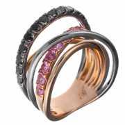 Кольцо из розового золота 585 пробы и черного золота 585 про...