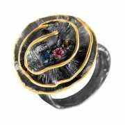 Кольцо из серебра 925 пробы с турмалинами (17)...