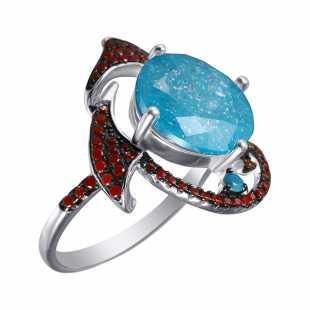 Кольцо из серебра 925 пробы с фианитами и ювелирным стеклом (18)