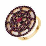 Кольцо из золота 585 пробы с рубинами и перламутром (17,5)...