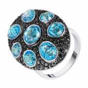 Кольцо из белого золота 585 пробы с бриллиантами и топазами ...