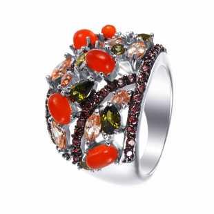 Кольцо из серебра 925 пробы с агатами и фианитами (18)