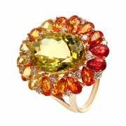 Кольцо из золота 585 пробы с кварцем, бриллиантами и сапфира...