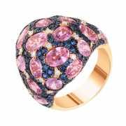 Кольцо из розового золота 585 пробы с сапфирами и бриллианта...