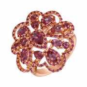 Кольцо из розового золота 585 пробы с турмалинами и сапфирам...
